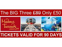 LONDON'S BIG 3 ATTRACTIONS Only £50 Ad / £45 Ch - MADAME TUSSAUDS - LONDON EYE - SEALIFE AQUARIUM
