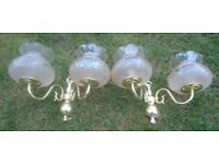 3 SETS OF WALL LIGHTS AND EXTRA SETS OF GLASS SHADES