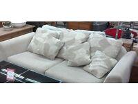 Cream fabric suite comprising 2 x 3 seaters