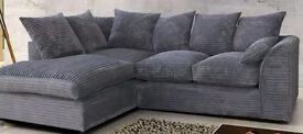 Grey jumbo cord sofa. In good condition just getting rid as new suite ordered.