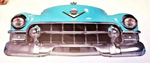 """25"""" HUGE 1950s Cadillac Blue Chaddy car Grill Front End USA STEEL Metal Sign 50s"""