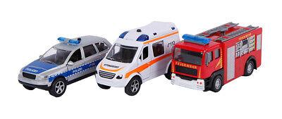 2 Play Einsatzfahrzeuge 3-teilig, Polizeiauto, Rettungssanitäter, Feuerwehrauto