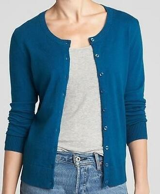 NEW NWT Womens GAP Cardigan Sweater Crewneck Slim Fit Teal Size Small *5P