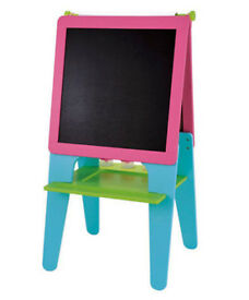 Sturdy double-sided pink wooden ELC whiteboard and blackboard