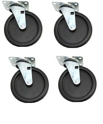 Set Of 4 Durable Swivel Casters 5 X 1 Polyolefin Wheel 2-12 X 3-58 Plate