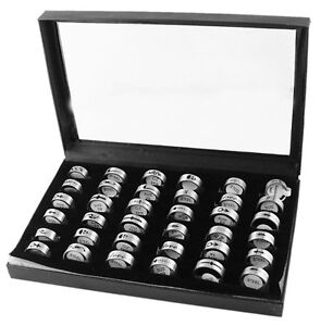 Wholesale, joblot, 36 Stainless Steel Mixed Sized Patterned Rings & Display Box