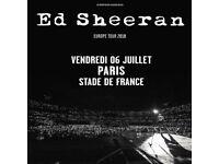Ed Sheeran Standing Tickets X 2, Paris