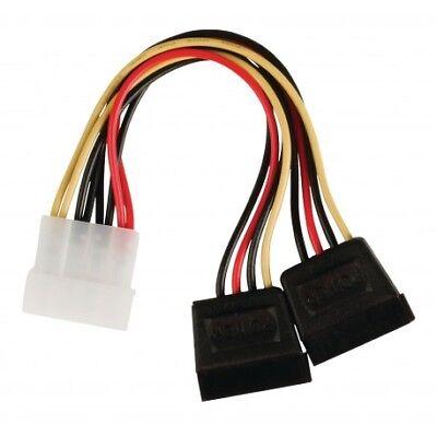 Câble d'alimentation interne Molex Mâle - 2x SATA 15 broches Femelle 0.15 m