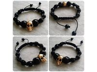 Handmade black onyx beaded shamballa gold skull bracelet. High quality.