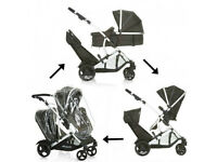 UNUSED SHOP DISPLAY HAUCK DUETT TWIN TANDEM DOUBLE PRAM PUSHCHAIR BUGGY CARRYCOT BLACK UNISEX £165