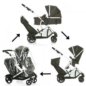 EXDISPLAY HAUCK DUETT 2 DOUBLE PRAM BUGGY PUSHCHAIR FROM 0-3 yrs CARRYCOT LIKE ICANDY