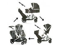 EXDISPLAY HAUCK DUETT 2 DOUBLE TANDEM PUSHCHAIR PRAM BUGGY FROM 0-3 yrs WITH CARRYCOT LIKE ICANDY.