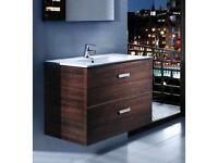 600mm Two Drawer Vanity Unit & Basin (Wenge Wood) - Bathroom