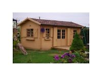 44 mm, (6 x 3,5 m) Log Cabin. 18 mm roof and floor boards.