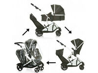 EXDISPLAY BLACK HAUCK DUETT 2 tandem twin double buggy pram pushchair. ONLY £165 SIMILAR TO icandy