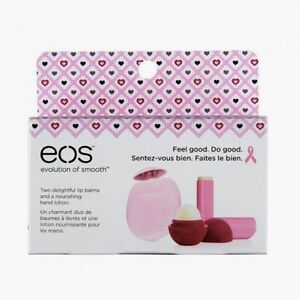 Eos Breast Cancer Pink Lip Balm & Hand Lotion 3-pack
