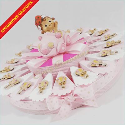 Torta bomboniera per BATTESIMO NASCITA bambina con sonaglio magnete e centrale s