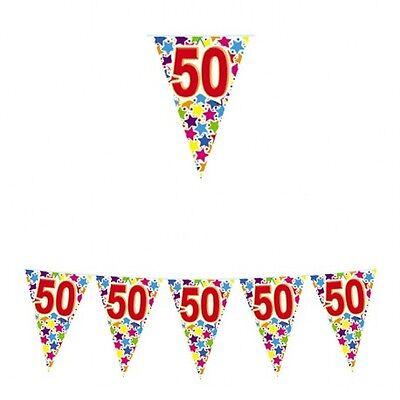 FESTONE CON BANDIERINE COMPLEANNO 50 ANNI ADDOBBI FESTA PARTY BANDIERINA 6 METRI