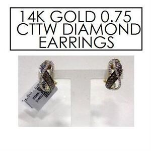 NEW* STAMPED 14K DIAMOND EARRINGS JEWELLERY - 14K YELLOW GOLD - .75 CTTW - MOCHA