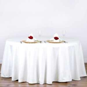 "(FOR RENT) 120"" White ROUND TABLECLOTH Wedding Birthday Sweet 16"
