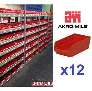 12 NEW AKRO-MILS STORAGE BINS PLASTIC NESTING SHELF BIN RED - CASE OF 12 - DRAWER ORGANIZERS GARAGE BASEMENT 81619025