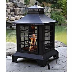 """NEW OUTDOOR STEEL FIREPLACE   ANTIQUE RUBBED BRONZE FINISH - 24""""W X 24""""D X 40.15""""H home outdoor living patio  86090105"""