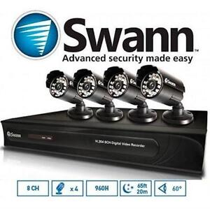 NEW OB SWANN SECURITY CAMERA SYSTEM - 108782200 - 4 CAMERA DVR RECORDER 500GB HDD - HOME SURVEILLANCE KIT- OPEN BOX