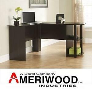 NEW DOREL L-SHAPED DESK 9354303PCOM 200639580 DESK WITH 2 SHELVES DARK RUSSET CHERRY