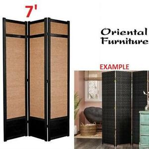 NEW* ORIENTAL FURNITURE PARTITION SS-84JUTE-Black-3P 262641967 7 ROOM DIVIDER JUTE FIBER JAPANESE PRIVACY 3 PANEL