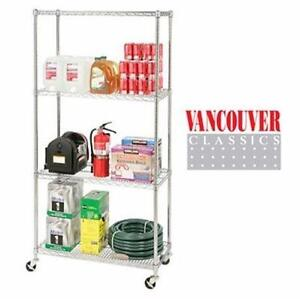 "NEW VANCOUVER CLASSICS 4-TIER WIRE SHELVING 48"" x 18' x 72"" - Storage Organization Garage basement   83931299"