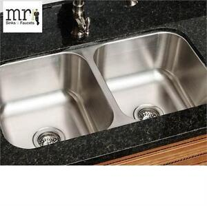 NEW MR DIRECT 16 GAUGE KITCHEN SINK Equal Double Bowl Stainless Steel Kitchen Sink Home Improvement Fixtures