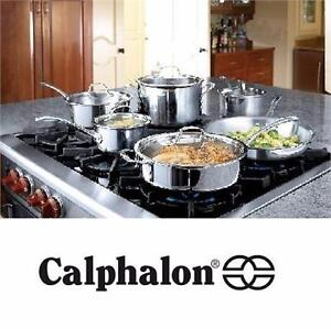 NEW 13PC CALPHALON COOKWARE SET   CONTEMPORARY STAINLESS 13-PIECE COOKWARE SET COOKING POTS AND PANS  89210105