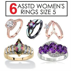 6 NEW ASSTD RINGS SIZE 5   New!  Sold As Lot