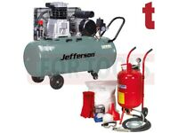 Sealey Soda Blaster Blasting, Shot Grit Blast Kit & Jefferson 200 litre Air Compressor SBKIT SB997