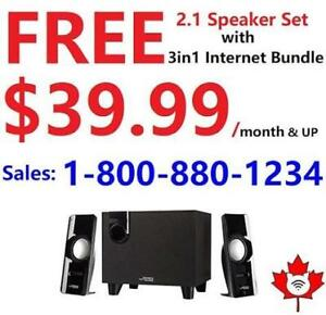Free 2.1 speakers for any internet + TV bundle starting from $49.99/month. Order online at http://www.ModemOutlet.com