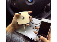 Chanel style compact mirror and lipstick power bank chargers