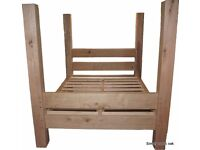 Rustic Oak Beam Four Poster Bed. King Size