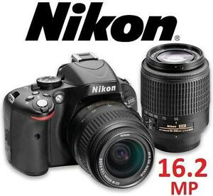 NEW OB NIKON D5100 16.2 CAMERA KIT 16.2MP Digital SLR Camera Kit with 18-55mm and 55-200mm Lenses NON-VR LENSES