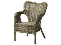 2 x IKEA Byholma wicker / rattan garden chairs