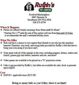 BIRTHDAY PARTIES FOR KIDS--RUFFIN' S PET CENTRE- STRATFORD