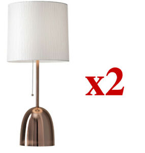 "2 BRAND NEW ADESSO Lola 29"" copper stand Table Lamps"