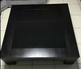 Large Black Wood & Glass Coffee Table 120cm FREE DELIVERY 682