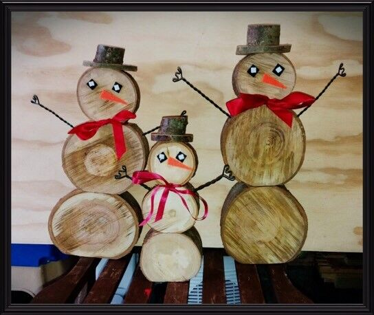 Handmade wooden snowmen for sale