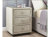 2x Fabric 3 Drawer Bedside Chest - Oatmeal