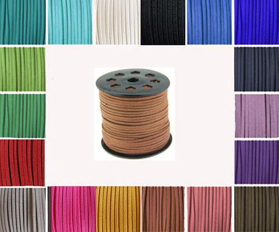 5  METER  WILDLEDERBAND VELOUR IMITAT 3 mm Weich Flach  Lederband Farben