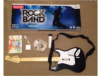 Nintendo Wii band hero game with wireless guitar, microphone & dongle.