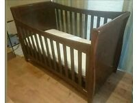 Stunning Mothercare cot bed with drop side and chest of drawers change table