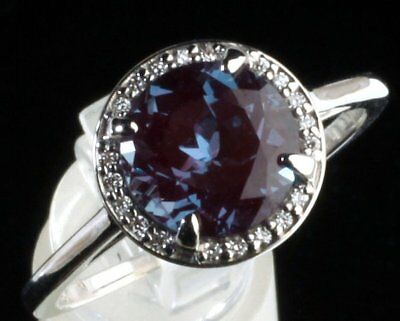 14K White Gold Diamond & Chatham Alexandrite Halo Style Engagement Ring -