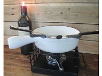 Lovely White Cast Iron Fondue Set