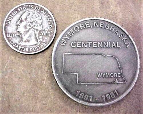 Wymore Nebraska Centennial Souvenir Medal / Coin 1981